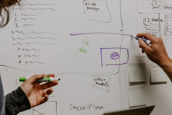 two people drawing a business plan on a whiteboard